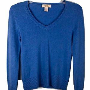 Peck & Peck 2Ply Cashmere Sweater Blue V-Neck M